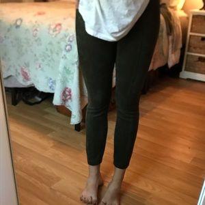 green/olive suede leggings